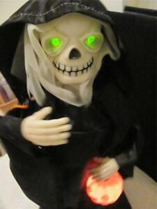 Vintage GHOUL  Rennoc Halloween Animated Illuminated Little People Grim Reaper