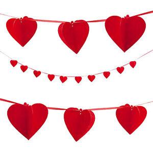 Herz Girlande Rot Deko Liebe Hochzeit Feier
