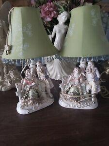 Vintage porcelain figurine lamps