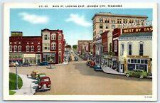 Postcard TN Johnson City Main St. Looking East Old Cars Linen Vintage View B8
