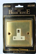 Sector Die Cast Georgian Rope Edge Brass 13A Unswitched 1G Socket white insert