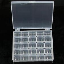 25 Solts Empty Bobbins Spools Box Sewing Machine Bobbin Case Organizer Storage