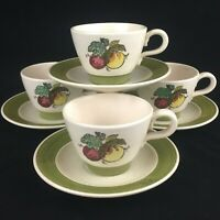 Set of 4 VTG Cups and Saucers by Metlox Poppytrail Vernon Provincial Fruit USA