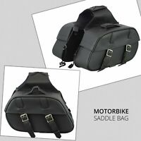 Rextek Motorcycle Leather Saddle Bags Universal Fit Black Bag Panniers Side bag