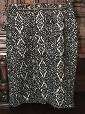 Talbots Black Grey Pencil Straight Skirt Size 4 Nwt New Damask Pattern