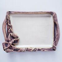 Vintage Ellen Evans Terrafirma Pottery Ribbon Bow Tray 1988