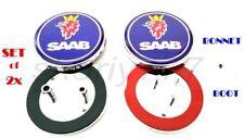 SAAB Bonnet and Boot Badges 2 x Blue Emblem With Mount Fits 93 9-3 2003-2010