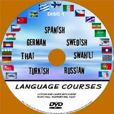7 LANGUAGE COURSES PC-DVD EASY LEARN SYSTEM AUDIO& TEXT GERMAN SPANISH SWEDISH 1