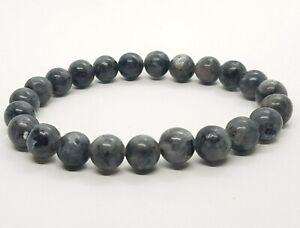 Black Tourmaline Bracelet Round Beads 8mm Yoga Chakra Reiki Black Labradorite