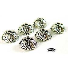 7mm Spiral Pattern Bali 925 Sterling Silver Bead Caps Oxidized C55 - 6 pcs
