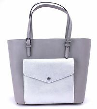 Michael Kors Jet Set Large Pocket MF Tote Saffiano  Pearl Grey/Silver NWT$268