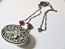 STERLING SILVER CHAIN CARNELIAN DISK BEADS OVAL BOX PENDANT RAISED FLOWERS
