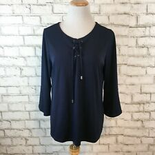 Chico's Women's Navy Blue Tunic Peasant Top Shirt Blouse Size 1 Medium
