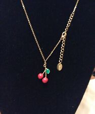 Cute Cherries Pendant Necklace Enamel & Gold Tone Metal By Claire's