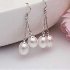 Long Cultured Lady Genuine Real New Wedding Earrings Pearl Dangle Freshwater