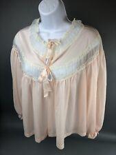 Vintage Sheer Chiffon Peignoir Nylon Pink Lace Short Cover Up Radcliffe Lingerie