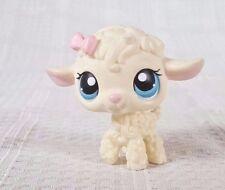 Littlest Pet Shop Cream Lamb Pink Bow Blue Eyes Figure