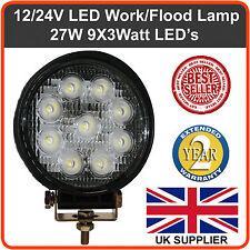 12v 24v Redonda 9 LED lámpara luz de inundación 1600 Lumens Tractor recuperación Camión Van