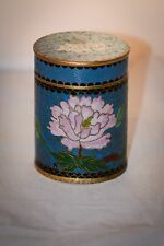 Vintage Cloisonne Covered Jar Floral Pink Blue large Delicate