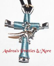Disciple's Cross Horseshoe Nail Necklace - Wire Wrapped Cross - Dinosaur