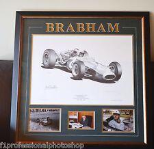 Jack Brabham original signed framed ltd edition print with photo proof & COA