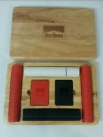 Vintage Marlboro Poker Set With 2 Deck Of Cards & Clay Chips In Original Oak box