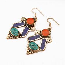 Turquoise Coral Lapis Earring Tibetan Nepalese Handmade Tibet Nepal ER1074
