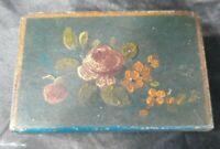 Antique Painted Floral Match Box Safe Metal Holder