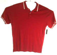 Covington Men's Polo Red W White  Ribbed Short Sleeve Cotton Casual   Size XL