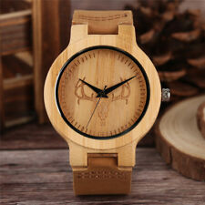 Nature Wood Quartz Wrist Watch Bamboo Cattle/Deer/Skull/Robot Women Leather Band