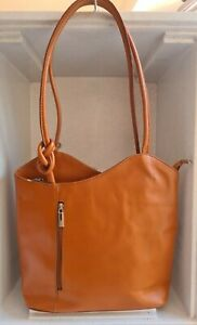 Borse in Pelle Tan Genuine Leather Shoulder Bag Knot Detail Made in Italy VGC