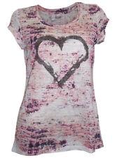 Linea Tesini Druckshirt Gr. 44 creme rosa mit Glitzer Nieten NEUWARE