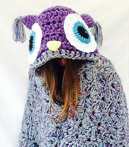 Crochet Hooded Owl Blanket chunky Throw, valentines gift for her him made in UK