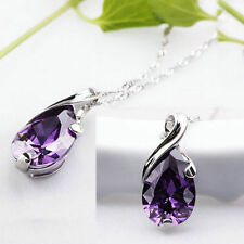 Purple Amethyst Crystal Teardrop Pendant For Necklace Gift Jewelry