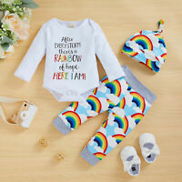3PC Newborn Baby Girl Boy Rainbow Romper Tops Jumpsuit Pants Hat Outfits Clothes