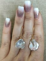 Natural lilac lavender baroque pearl dangle drop Earrings solid 9ct gold