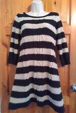 Next black oatmeal stripes cable knit Aline jumper 3/4 sleeve dress UK 10