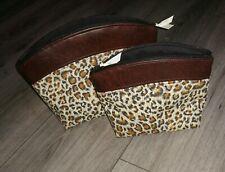 make up bag set handmade leopard print design brown  vinyl.. 2 piece