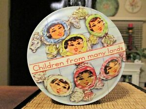 VINTAGE 1960S CHILDREN FROM MANY LANDS ROUND TIN WITH LID CANDY-ENGLAND