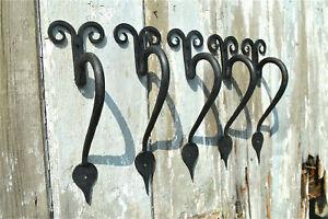 A set of 5 handmade wrought iron Gothic curl door handles BL12