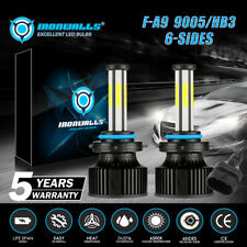 6-Side 9005/HB3 LED Headlight Bulbs 2800W 420000LM Fog Lights White 6500K Bright