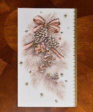 Vintage UNUSED Christmas Card EMBOSSED GLITTER PINK PEACH PINE CONE SPRAY MidCen
