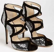 JIMMY CHOO Black Sequin Sandals Heels Boots EU38 UK5 RP695GP Great Gift