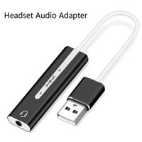 1Pc USB To 3.5 mm stereo jack headset audio adapter cable external sound card Nw