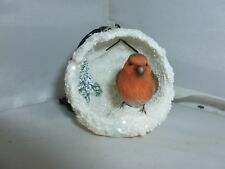BRAND NEW HANGING ROBIN SNOWBALL SMALL CHRISTMAS GARDEN ORNAMENT
