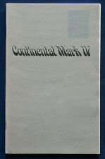 Owner's Manual * Betriebsanleitung 1974 Lincoln Continental Mark IV  (USA)