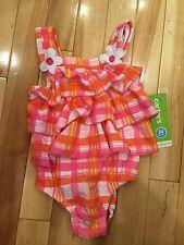 Carter's Infant / Toddler Girls 24 Months Swimsuit ~ Pink Orange Plaid NWT