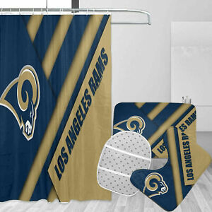 Los Angeles Rams Bathroom Rugs Shower Curtains Mat Toliet Lid Cover Fans Gifts