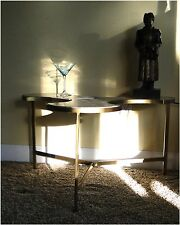 Mid Century Tripod Table Three Puzzle Danish Modern Real WHITE Marble Top