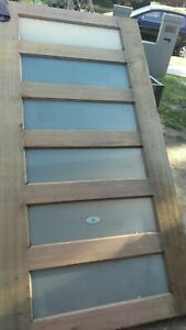 Maple solid entrance front exterior door 2340 x 1200  x 40  frost glass